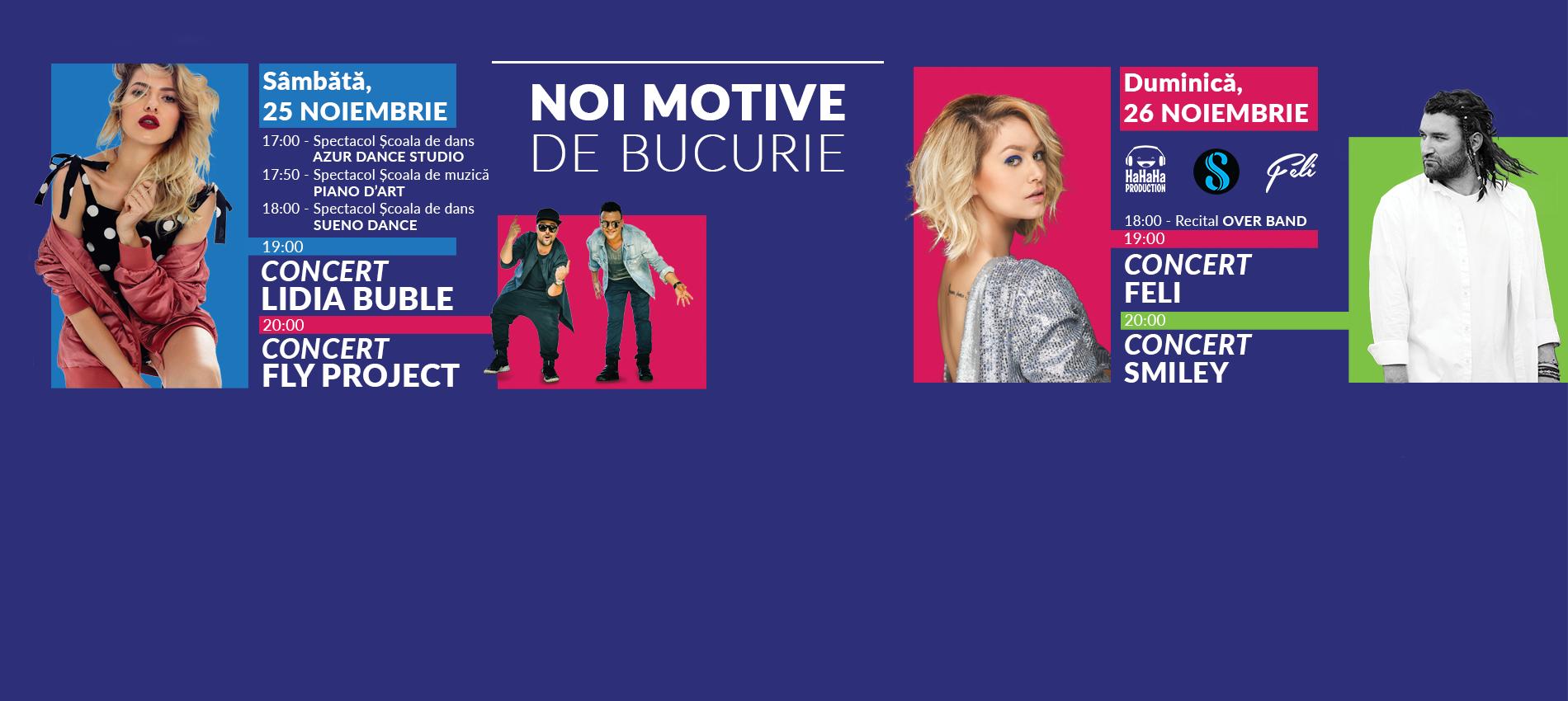 Super concerte Smiley, Lidia Buble, Feli și Fly Project la Shopping City Galați!